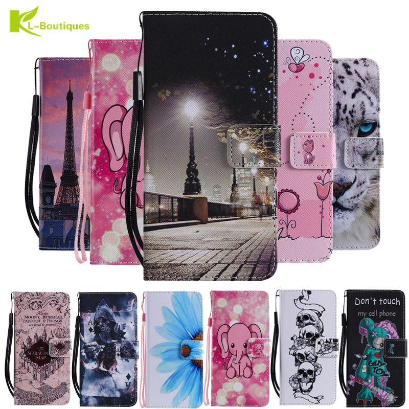 A7 2018 Leather Case on for Pouzdro Samsung Galaxy A7 2018 A750 Cover for Samsung A7 2018 Coque Cartoon Wallet Flip Phone Case