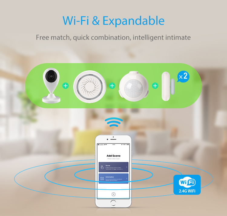 TUYA Smart Home Video Alarm Kit Concluding 720P Cameras 3 sensors 1 Siren Alarm All Support Wifi with SmartLife TUYA Smart APP_F03