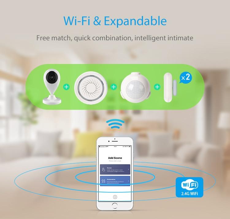 TUYA Smart Home Video Alarm Kit Concluding 720P Cameras 3 sensors 1 Siren Alarm All Support Wifi with SmartLife TUYA Smart APP_F03
