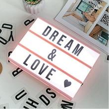 DIY Black Letters Cards AA Battery Nightlight Cinema Lightbox A6 Size LED Combination Night Light Box Lamp For Bedroom Gift цена в Москве и Питере