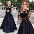 Fashion Two Pieces Prom Dresses 2017 Lace Applique Black Long Sleeves Homecoming Cheap Boat Neck Evening Gowns Vestido de Festa