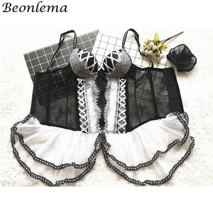Image 3 - BEONLEMA Transparente Mulheres Sexy Bustier Clubwear Lingeries Preto Underbust Corset Top Bustier Rendas Vestido Lolita Bayan Korse