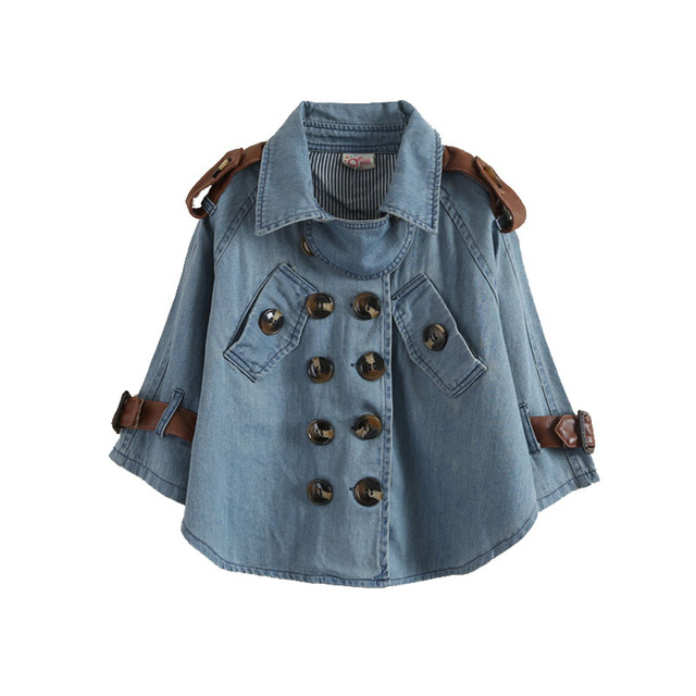 LittleSpring abrigo de primavera otoño de los niños prendas de vestir exteriores superior de manga larga chica kids trench coat moda bat camisa de mezclilla abrigo