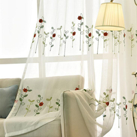 Modern Simple Polyester Cotton Tulle Fabric Embroidered Leaves Animal Screen Curtains Yarn Living Room Bedroom Dedicated