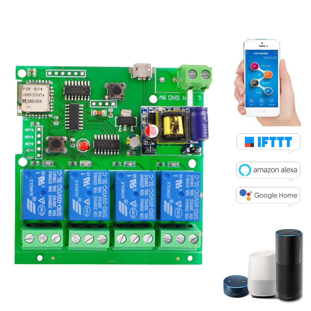 Smart Remote Control Module 4CH DC5V 12V 32V 220V Jog Inching Self-locking RF Receive 10A Relays WIFI Wireless Switch