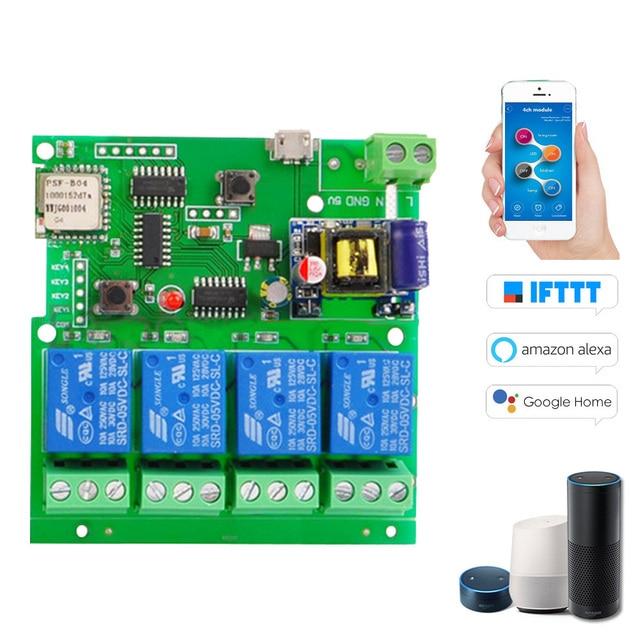 Inteligente de Control remoto para 4CH DC5V 12 V 32 V 220 V Jog empujando de auto-bloqueo RF recibir 10A relés WIFI inalámbrico interruptor