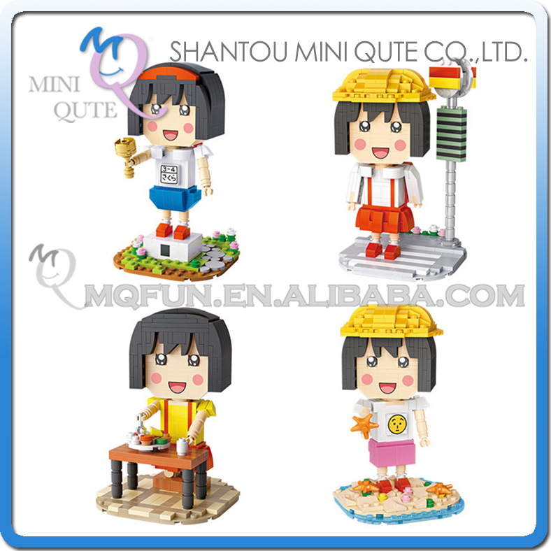 Jeu complet 4 pièces Mini Qute LOZ Anime kawaii filles cadeau Sakura momoko dessin animé diamant en plastique bloc de construction briques jouet éducatif