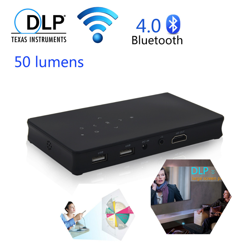 2.4G/5G Wifi Bluetooth 4.0 DLP Home Theater Projector Portable HD 1080P HDMI Mini Projector Support TF/U disk For IOS Android