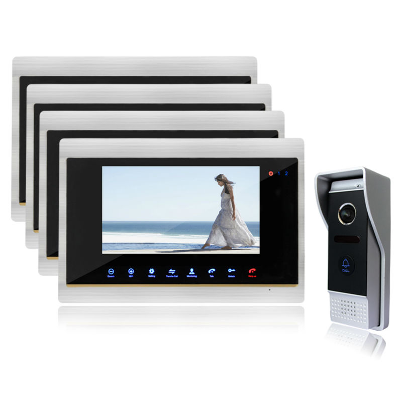 Homefong7 Inch TFT Touch Screen Color Video Door Phone Night Vision Intercom System IR sensor Color Screen Record Video Doorbell 7 inch tft touch screen lcd color video door phone doorbell wall mounted intercom system night vision eye camera doorphone