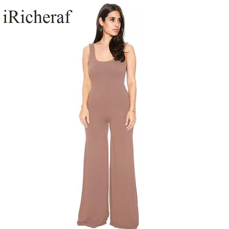 Sexy Backless Jumpsuit Women O-neck Solid Loose Tank Type Boot Cut Fashion Sleeveless Full Length Romper Feminino Black,Brown