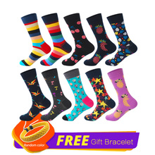 LIONZONE 10Pairs/Lot Street Colorful Harajuku Rainbow Designer Cotton Happy Socks Men
