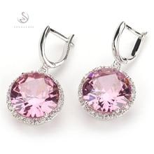 SHUNXUNZE kolczyki dla kobiet akcesoria luksusowe różowe fioletowe światło niebieska tęcza cyrkonia rodowane R146 R486 R737 R749