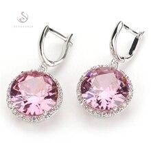 Серьги SHUNXUNZE для женщин, аксессуары, роскошные розовые, фиолетовые, голубые, радужные, кубический цирконий, родиевое покрытие R146 R486 R737 R749