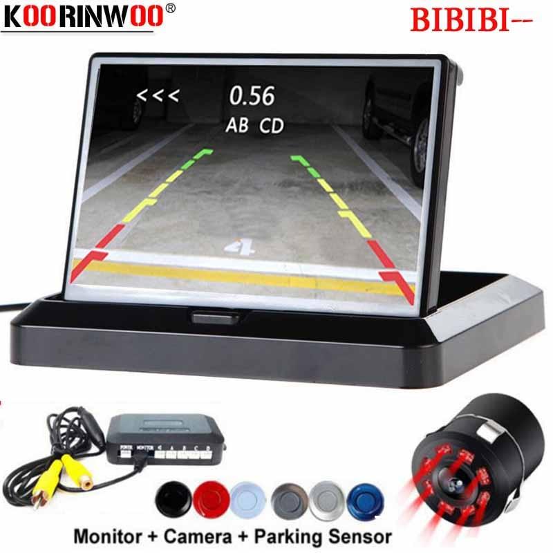 Koorinwoo Electronics Parking sensors 4 Probes Folding 4 3 Monitor Rearview with reverse Camera Radar car