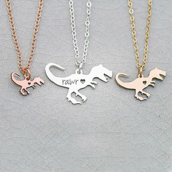 Dinosaur Necklace  Tyrannosaurus Jewelry Jurassic Scary Charm Dino Necklaces Any Words Can Be Customed  YP6034