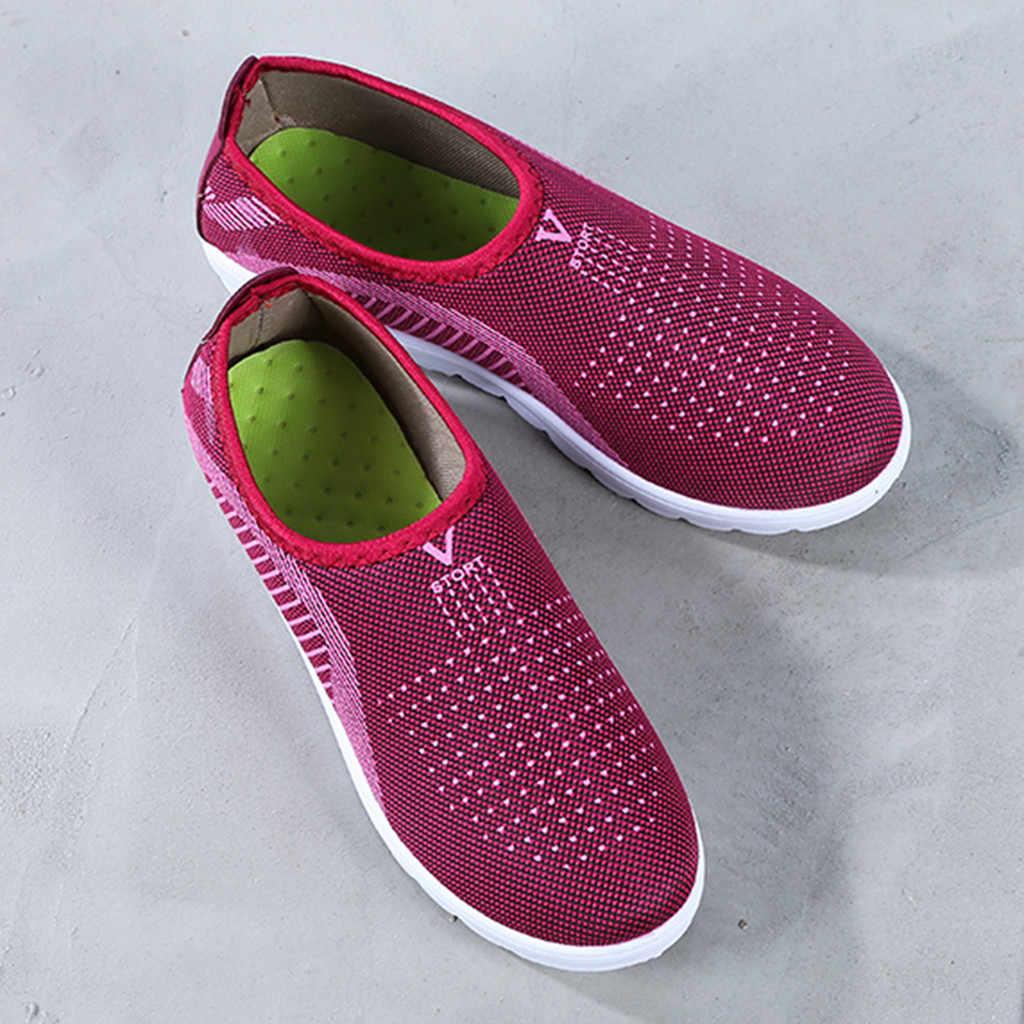 Lưu Hóa Giày Mùa Thu Lưới Phẳng Cho Nữ Plus Bông Đế Phẳng Thường Đi Bộ Sọc Giày Cho Nữ # T2G