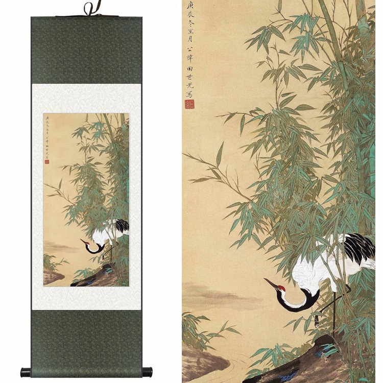Traditional Chinese Silk watercolor ink animals birds Hok Crane bamboo art canvas wall damask picture framed