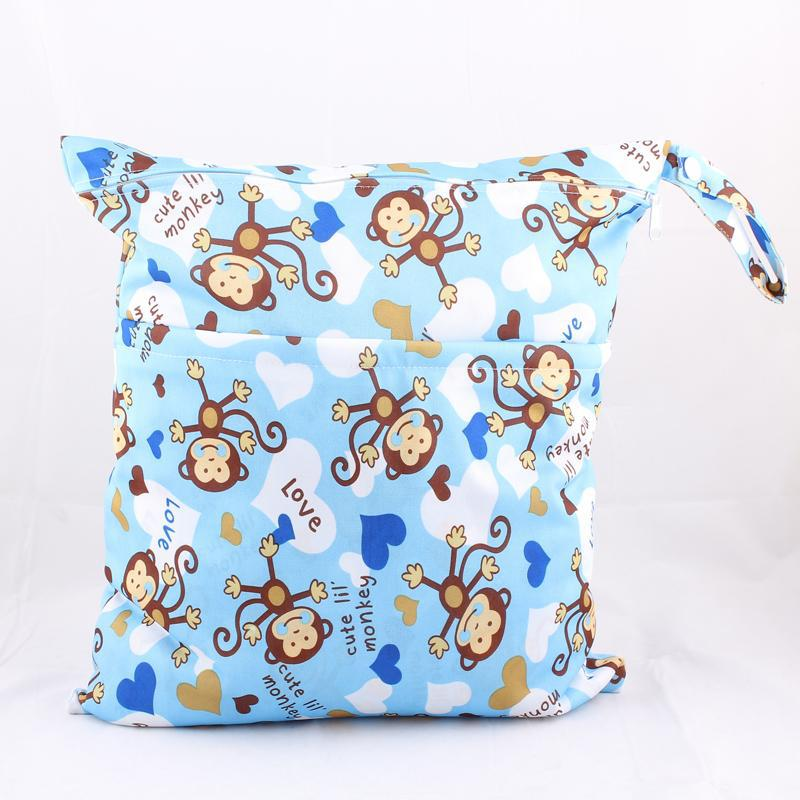 2Layer Reusable Cartoon Print Baby Cloth Diaper Wet Bags Waterproof Cloth Diaper Bags Zipper 37cm X 30cm