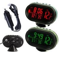 Car Auto Digital LCD Green Orange LED Monitor Thermometer Voltmeter Voltage Meter Alarm Clock 12V 24V