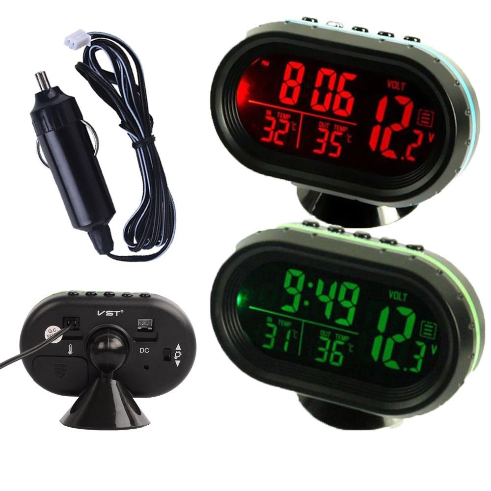 Bil Auto Voltmeter Termometer Elektronisk väckarklocka 12V Digital LCD Grön Orange LED Ljusdisplay Volt Meter Gauge Universal
