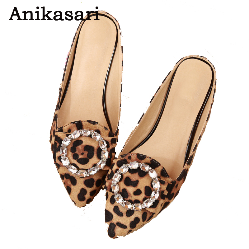 2017 Woman Flats Pointed Toe Slippers Women Rhinestone Flat Women Shoes Zapatos Mujer Ladies Shoes Summer Sandals Leopard Shoes 2018 new arrival women flats shoes shallow flat heel hollow out flower shape nude shoes pointed toe shoes zapatos mujer
