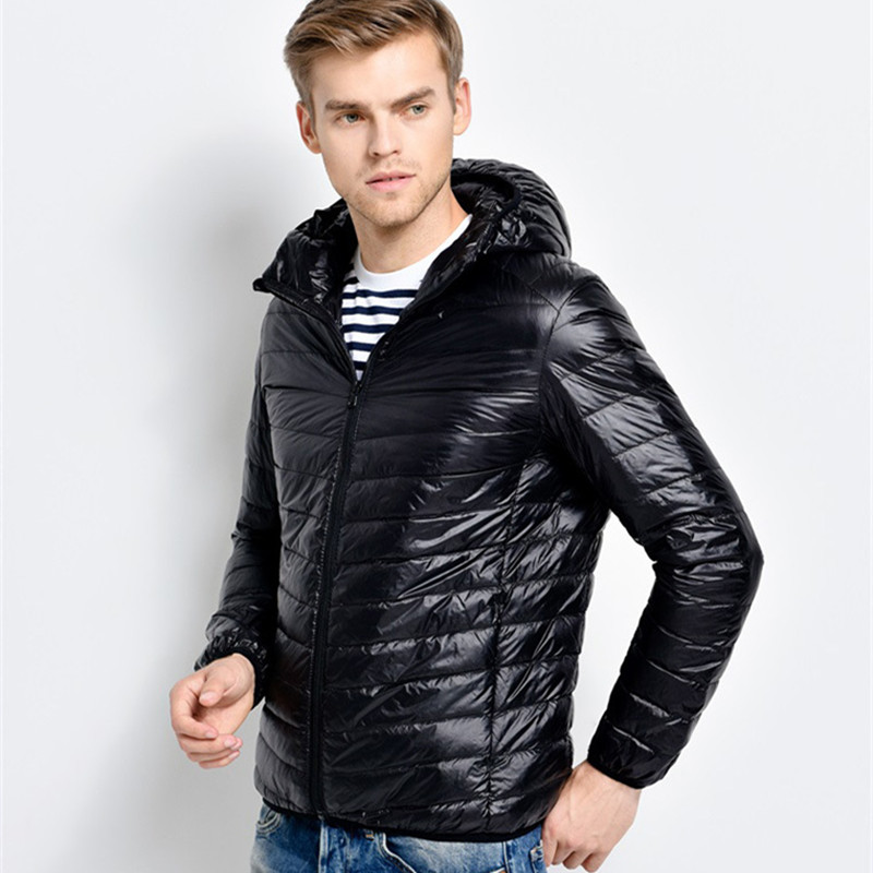 LEFT ROM 2018fashion male warm in winter 90% White eiderdown jackets/men's slim Fit high-grade hooded Super light thin Down coat