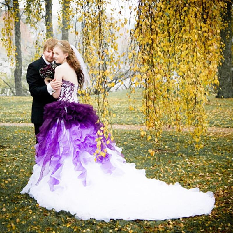 LORIE Gothic Purple Wedding Dresses 2018 Robe de mariee Ruffles New Bride Dress Strapless Organza Wedding