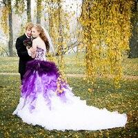Лори Готический фиолетовые Свадебные платья 2018 халат де mariée оборками Новые невесты платье без бретелек Свадебное платье из органзы с откры