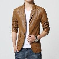 Новый бренд Для мужчин Блейзер Куртка Для мужчин из мягкой искусственной кожи кожаные пальто мужской моды хаки Блейзер Masculino Slim Fit костюм Ст...