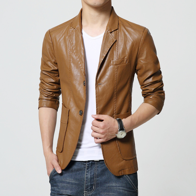 1d24a30210ccb New Brand Men's Blazer Jacket Men Soft PU Leather Coat Male Fashion Khaki  Blazer Masculino Slim