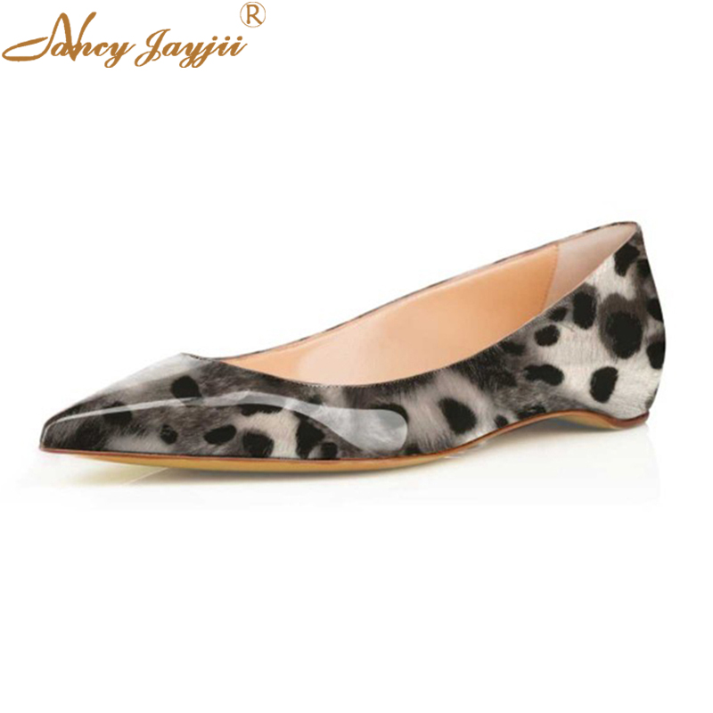 Grey Sexy Leopard Leather Shoes Pointed Toe Designer Ballerinas Flats Evening Ballet Ladies Autumn Buty Damskie Shoes Women 11 amourplato women s pointed toe flats ballet shoes ankle buckle strap stacked heel dress shoes ladies ballerinas comfort shoes