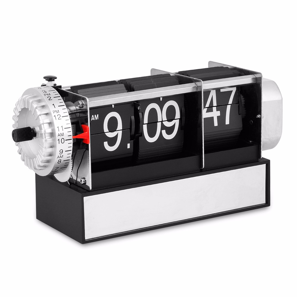 Flip Clock Us 38 99 Table Alarm Flip Clock Antique Retro Style Digital Dynamic With Alarm Clock Gift Desk Table Gear Operated Auto Flip Clock In Desk Table