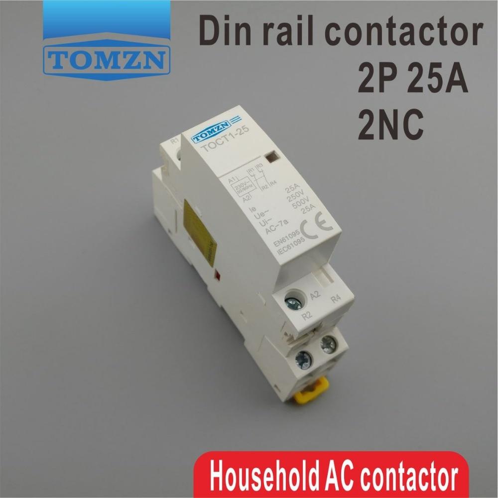 TOCT1 2 P 25A 2NC 220 V/230 V 50/60 HZ rail Din Ménage ac contacteur Modulaire deux normale fermer
