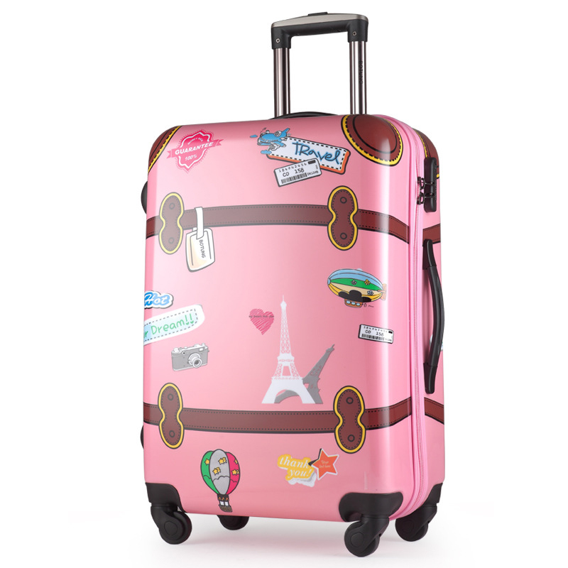 Hard cases of men and women pull rod box cute cartoon graffiti luggage 20-inch boarding box 24 inch wheels 170401