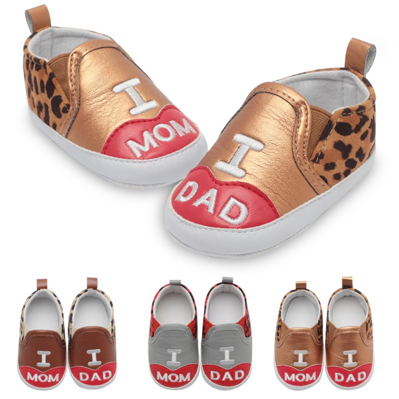 Baby Boy Girl Shoes First Walker Mom &Dad Letters Printed Casual Kids Shoes Leopard Stitching Shallow Mouth Baby Toddler Shoes