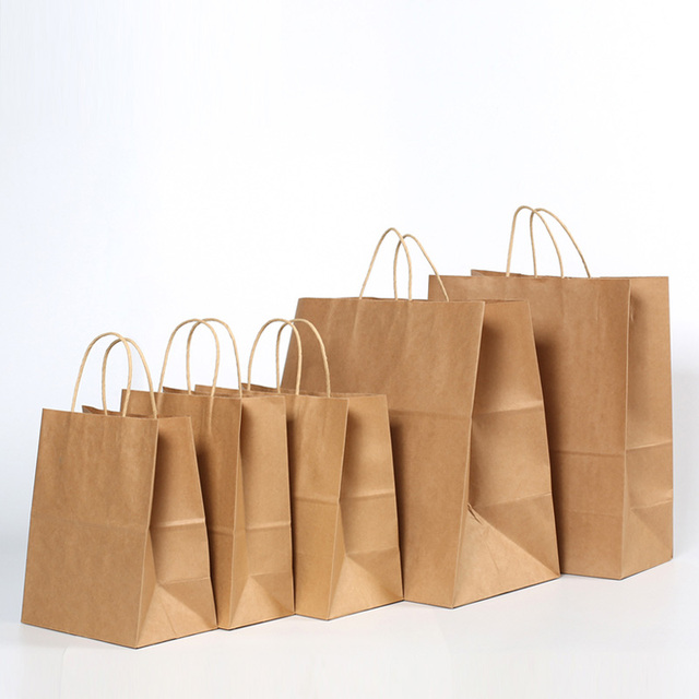 500 Pcs 3 Sizes Brown Kraft Paper Bag With Handle Clothing Bread Candy Buffet Bags Food