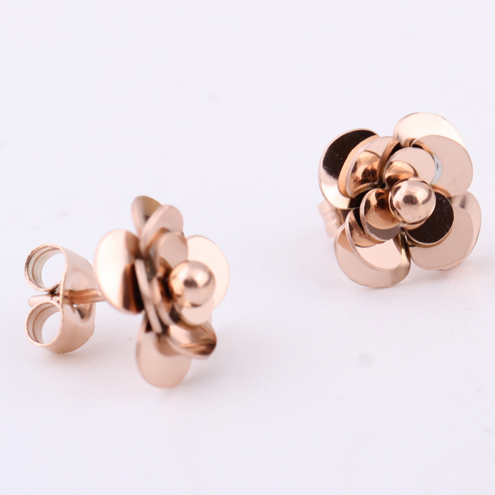 Fashion Women Earrings 316LStainless Steel Rose Gold Flower Stud Earrings 10