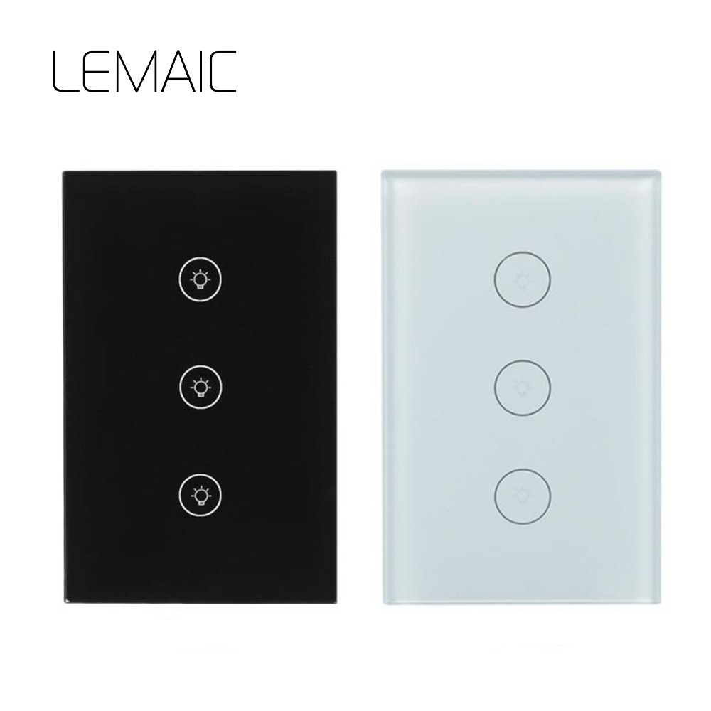 LEMAIC New US Smart WiFi RF / APP / Touch Control Wall Light Switch 1 /2 /3 Gang Panel Wall Touch Light Switch Smart Home sonoff t1 us smart touch wall switch 1 2 3 gang wifi 315 rf app remote smart home works with amazon free ios and app ewelink