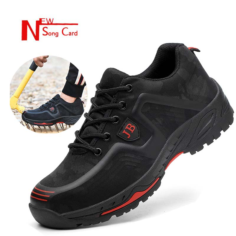 New Song Card Fashion Men's Spring Summer Steel Toe Safety Shoes Outdoor Indestructible Anti-slip Steel Puncture Proof Work Boot