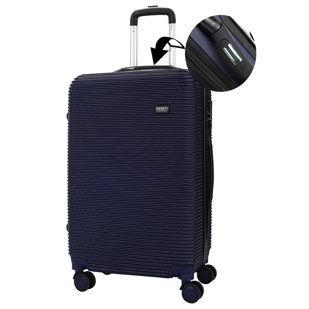 Blue suitcase with integrated scales PROFFI TRAVEL PH8862navy, M, medium, plastic, with combination lock, on wheels 64x41x25cm 2pcs travel bags replacement luggage suitcase wheels left