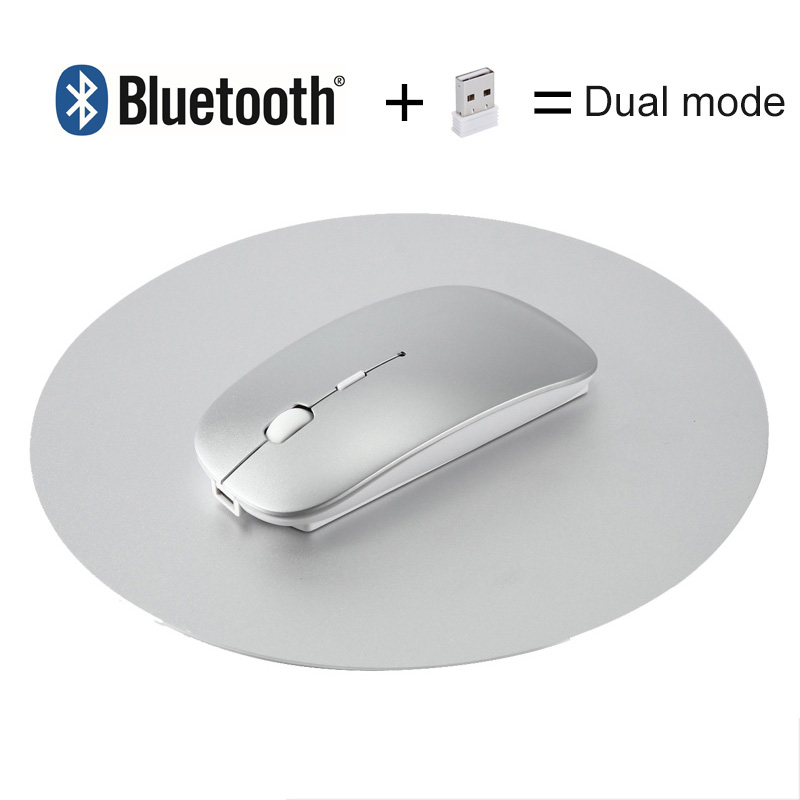 2 in 1 Bluetooth + 2.4G USB Wireless Mouse Rechargeable Ergonomic Gaming Mouse For Macbook