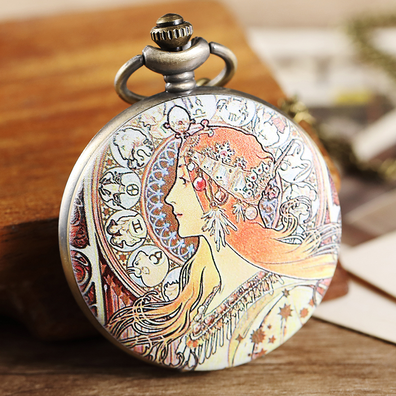 Vintage Alphonse Maria Mucha Famous Oil Painting Beautiful Women Portrait Pocket Watch FOB Chain Necklace Pendant Painted Gifts