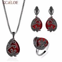 KCALOE Red Semi Precious Stones Jewelry Sets For Women Vintage Black Cubic Zirconia Flowers Earrings/Ring/Necklace Wedding Set