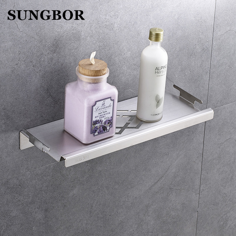 Us 19 8 Bathroom Shower Shelf Stainless Steel 33 Cm Caddy Bath Kitchen Floating 1 Mm Extra Thick Brushed Zg 17064l In