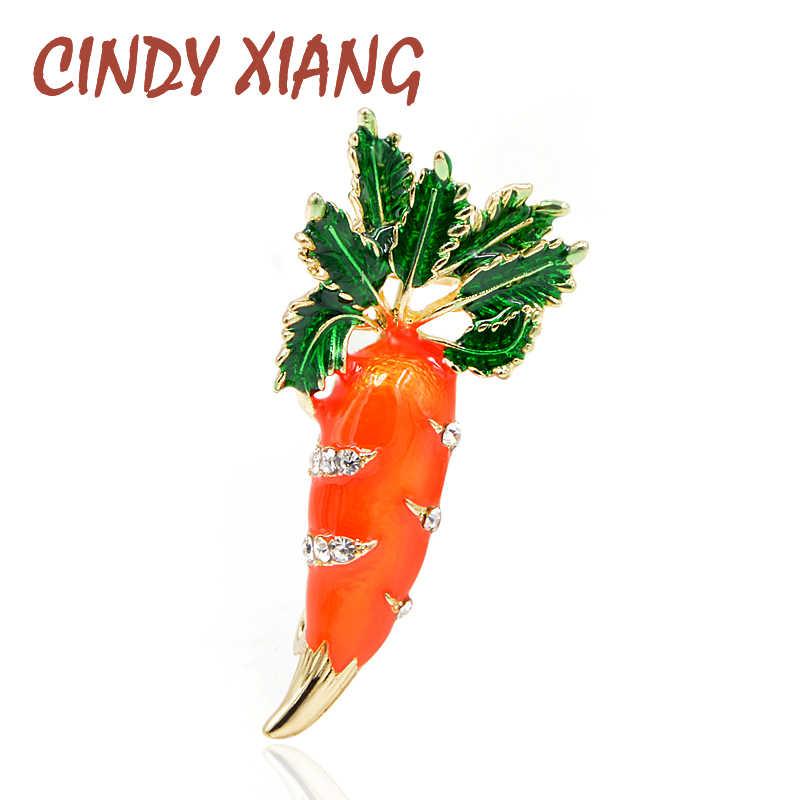 """Женская брошь """"Морковь"""" CINDY XIANG, милое украшение с эмалью и стразами для платья, блузки, рубашки, футболки, летний аксессуар, новое поступление"""
