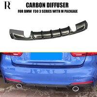 F30 m desempenho estilo fibra de carbono amortecedor traseiro difusor lábio para bmw f30 320i 328i 320d 325d m tech m sport pára choques 12 18 rear bumper diffuser bumper diffuser rear bumper lip -