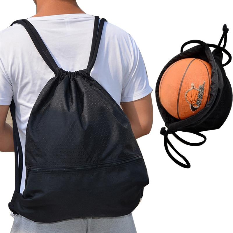 Outdoor Women Men Nylon Black Ultralight Backpack Football Basketball Bag String Drawstring Hunting Hiking Gym Sport Bags