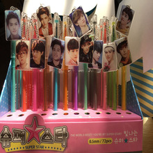 12pcs/lot EXO Photo Pendant Gelpen Korea&China Super Famouse Star Color Gel Pen School/Office Gifts 7pcs BTX Nuetral