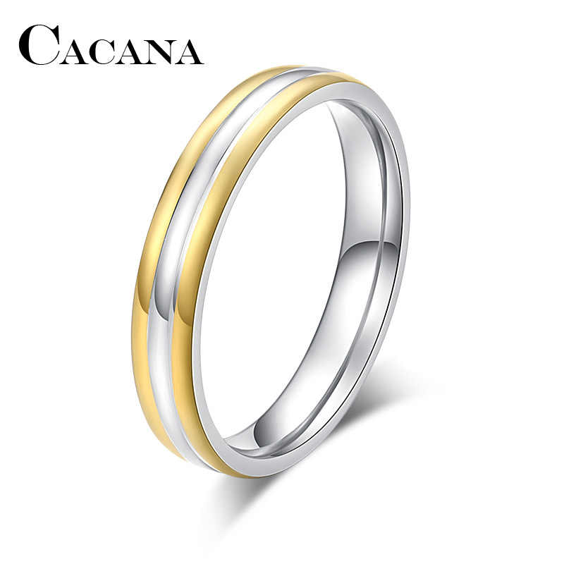 CACANA  Stainless Steel Rings For Women Men 4mm Double Colors Engagement Personalized Custom Fashion Jewelry Rings