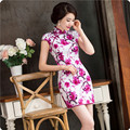2016 Summer New Cheongsam Vintage Chinese Style Dress Women Elegant Satin Flowers Print Slim Short Qipao Evening Cheongsam